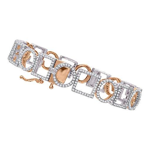 KATARINA Geometric Shapes Diamond Bangle Bracelet in 14K Two Tone Gold (2 1/4 cttw, G-H, I2-I3) -