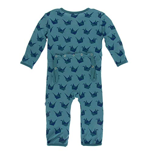 Kickee Pants Little Boys Print Coverall Zipper - Seagrass Origami Crane, 6 Years