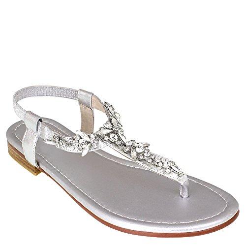 Tiana MarieRhinstone - Zapatos con tacón mujer plata