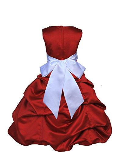 Wedding Pageant Apple Red Christmas Satin Flower Girl Dress 806s