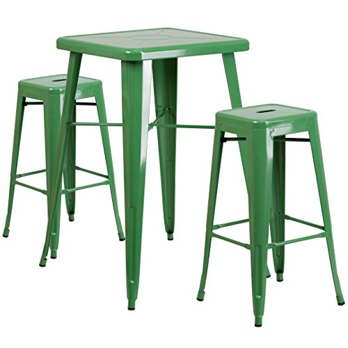 MFO 23.75'' Square Green Metal Indoor-Outdoor Bar Table Set with 2 Square Seat Backless Barstools
