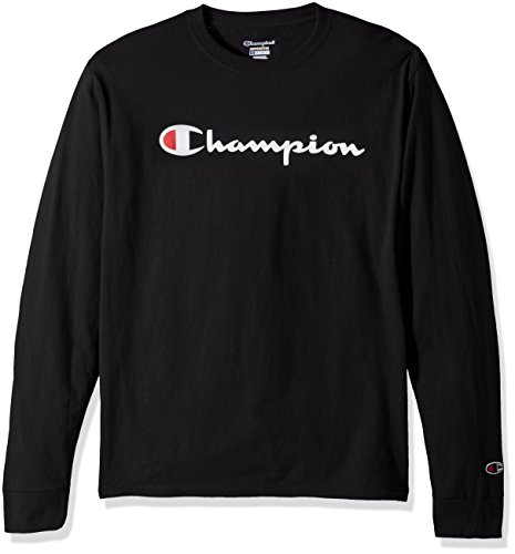 Champion LIFE Men's Cotton Long Sleeve Tee, Black/Patriotic Script, Large