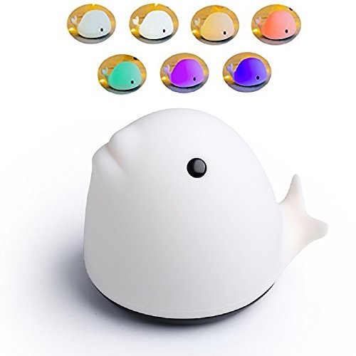 Tap Water Goldfish - USB LED Night Light Soft Silicone Night Light Dolphin Multi-color Breathing Mode Single Color Warm White 3 Mode Rechargeable Cellphone Mount Tap Control for Children Baby Girl