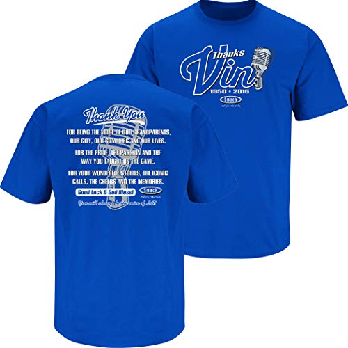 Los Angeles Baseball Fans. Vin Scully Tribute. Blue T-Shirt (Sm-5X) (Short Sleeve, 2XL)