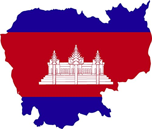 (Map with flag inside cambodia 4x4.2 sticker decal die cut vinyl - Made and Shipped in USA)