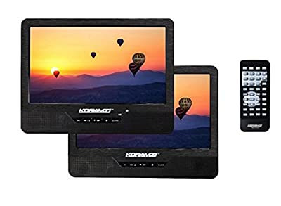 "Koramzi PDVD-DK95 Portable 9"" Dual Screen (One DVD) with Rechargeable Battery / AC Adapter / AV In / Card Reader / Remote Control / Car Adapter / IR Transmitter Ready / USB / Headrest Mounting Kit"