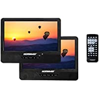 Koramzi PDVD-DK95 Portable 9 Dual Screen (One DVD) with Rechargeable Battery / AC Adapter / AV In / Card Reader / Remote Control / Car Adapter / IR Transmitter Ready / USB / Headrest Mounting Kit