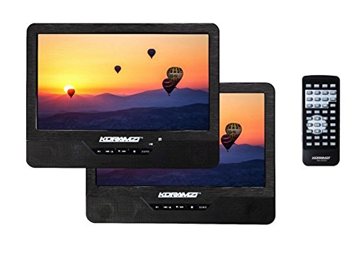 Koramzi PDVD-DK95 Portable 9″ Dual Screen (One DVD) with Rechargeable Battery / AC Adapter / AV In / Card Reader / Remote Control / Car Adapter / IR Transmitter Ready / USB / Headrest Mounting Kit