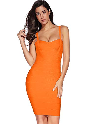 Meilun Women's Sleeveless Rayon Bandage Bodycon Strap Dress Large Orange - Herve Leger Bandage