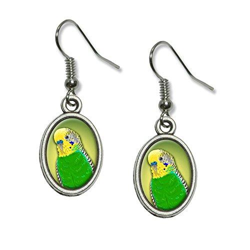 Green Parakeet - Budgie Bird Pet Novelty Dangling Drop Oval Charm Earrings]()