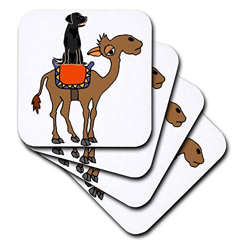 3dRose All Smiles Art Animals - Funny Cool Black Labrador Retriever Riding Camel Cartoon - set of 8 Coasters - Soft (cst_287916_2)
