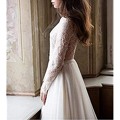 Tsbridal Beach Wedding Dress Long Sleeves Round Neck Lace Wedding Gowns at Women's Clothing store