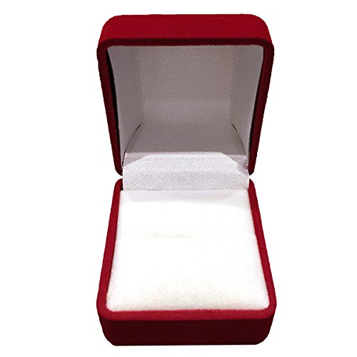 Velvet Jewelry High Dome Gift Box for Wedding Engagement Ring (Red)