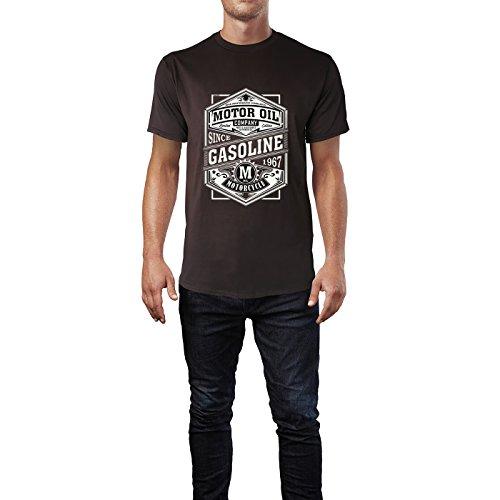 SINUS ART® Motor Oil Company Logo Herren T-Shirts in Schokolade braun Fun Shirt mit tollen Aufdruck