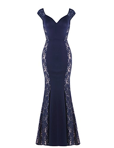 Ever-Pretty High Stertch Fashion Lace Evening Dress For Women 16 US Navy Blue