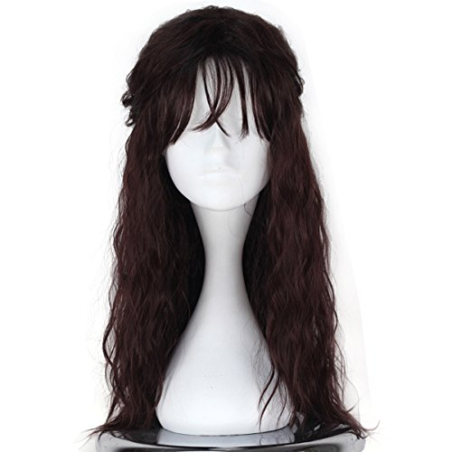 Men's Long Curly Dark Brown Wig