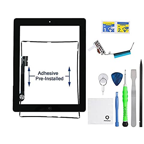 FixCracked for iPad 3 (3rd Generation) Touch Screen Glass Digitizer Replacement, Home Button Assembly, Midframe Bezel, Pre-installed Adhesive Tape, Wifi Antenna with (Ipad 3 Home Button Cable)