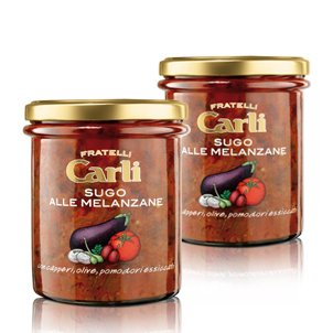 Carli Eggplant Pasta Sauce. Two 270 Gram (9.5 oz.) jars.