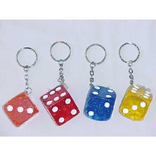 Acrylic 1.5'''' Dice Key Chain Case Pack 72