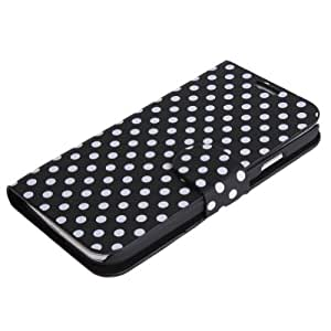 Zehui Black Leather Polka Dot Case Pouch W/Stand For Samsung Galaxy S4 IV i9500