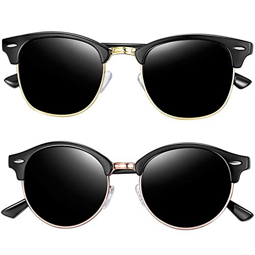 (Joopin Semi Rimless Polarized Sunglasses for Men, Retro Brand 2 Pack Womens Sunglasses (Brilliant Black+Shiny Black))