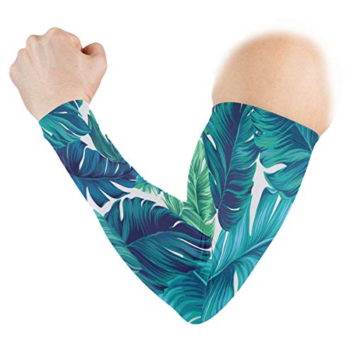 (UV Sun Protection Sleeves Blue And Green Leves Cuffs Cover for Men Women Sports Running Golf Cycling Driving Arm Protection 1 Pair)