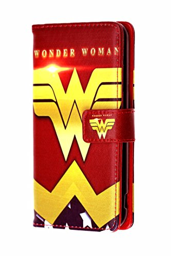 iPhone 7 Plus Wallet Case, DURARMOR Red Wonder Woman Premium PU Leather Wallet Case with ID Credit Card Cash Slots Flip Stand Wrist Strap Cover Carrying Case for iPhone 7 Plus 5.5 inch (Wonder Woman Wallet)