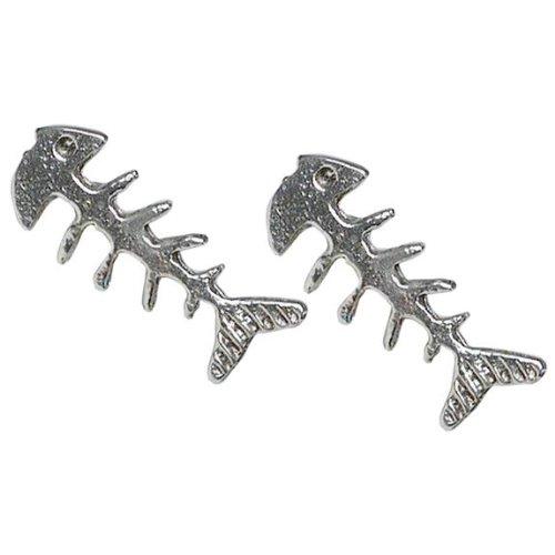 Stud Earrings Sterling Silver - Fish (Bone Plug Cross)