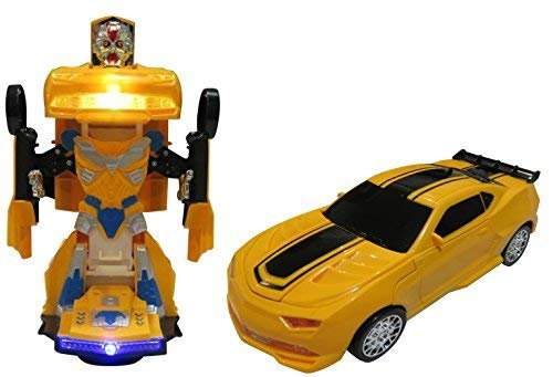 (Car Transforms into Robot Car Toys for Children Bump and Go Action with Lights and Scary Sounds)