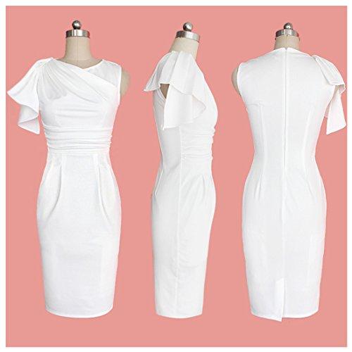 Manica Beyonce Vestito Abito Bianco xxl Increspato WIWq5C