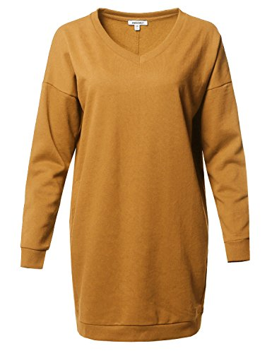 Awesome21 Casual Over-Sized Loose Fit V-Neck Tunic Length Sweatshirts Ashmustard Size S/M