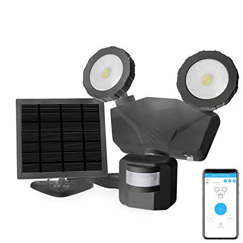 Novolink Solar Lights Outdoor, 500 Lumens LED Security Lights with Motion Sensor, IP65 Waterproof, Wireless APP Control, 5500 Kelvin Adjustable 2-Head Flood Lights for Porch, Backyard, Pathway