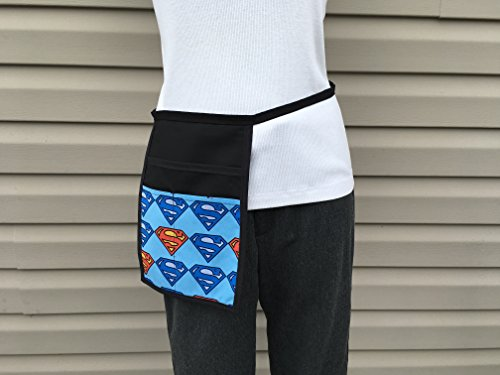 Black Hip Side Apron money Pouch Waitress pockets. Check out all 51 prints @(Handmade Janet aprons) SUPERMAN, Restaurant Bars Cafes Janet's Aprons