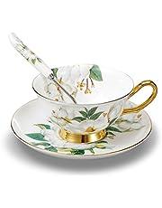 Panbado, Série Fleur,Ensemble Tasse Soucoupe Porcelaine Anglaise à la Cendre d'os, Bone Chine Service à Thé Café,avec Cuillère- 1 Set 200ml