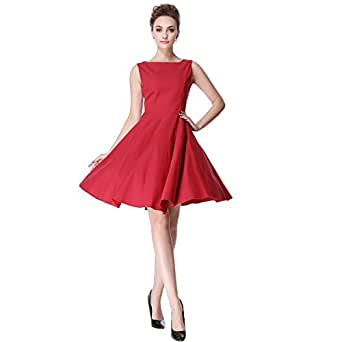Heroecol Womens Vintage 1950s Dresses Oblong Neck Sleeveless 50s 60s Style Retro Swing Cotton Dress Size XS Color Red