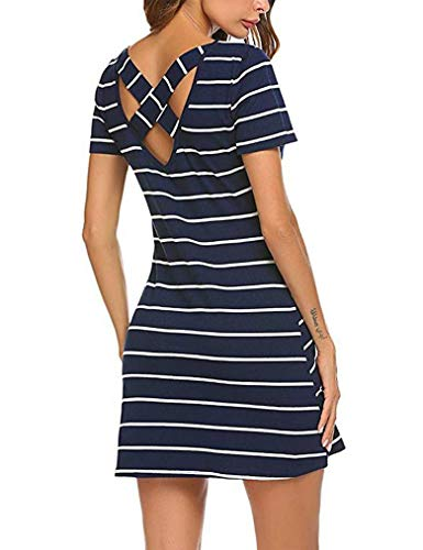 Feager Women's Casual Striped Criss Cross Short Sleeve T Shirt Mini Dress with Pockets (S, Blue) Blue Striped Cotton Dress Shirt
