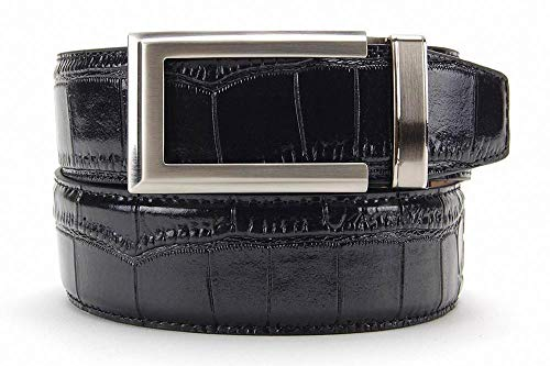 (Alligator Black Premium Reptile Leather Belt with Automatic Buckle - Nexbelt Ratchet System)