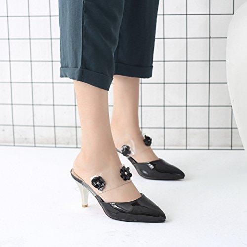 Mujer Libre Aire Verano al Hueco en la Dedo Sandalias Negro Puntiagudo de Sexy del Deslizamiento Tacón de pie Vestir de Mulas Zapatos qRHcE