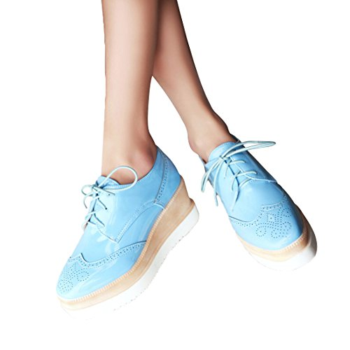 Susanny Womens Platform Wedges Lace-Up Wingtips Round Toe Oxfords Shoe Casual Leather Sneaker Blue 3msLq5YcLJ