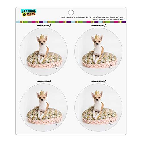 Chihuahua Cushion King Puppy Dog Refrigerator Fridge Locker Vinyl Circle Magnet Set