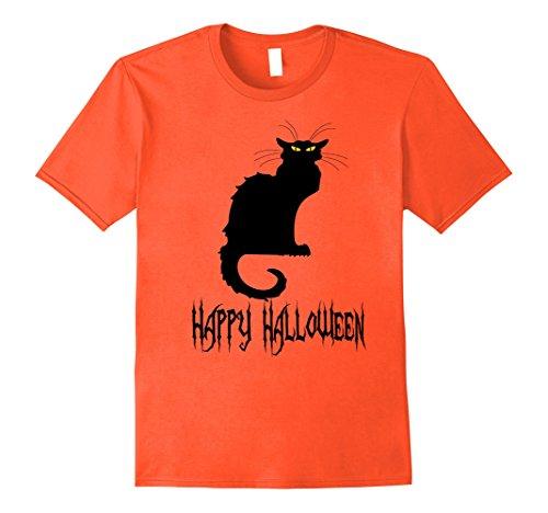 Womens Cat Costume Ideas - Mens Black Cat Halloween T-Shirt, Costume Idea, Party, Plus sizes XL Orange