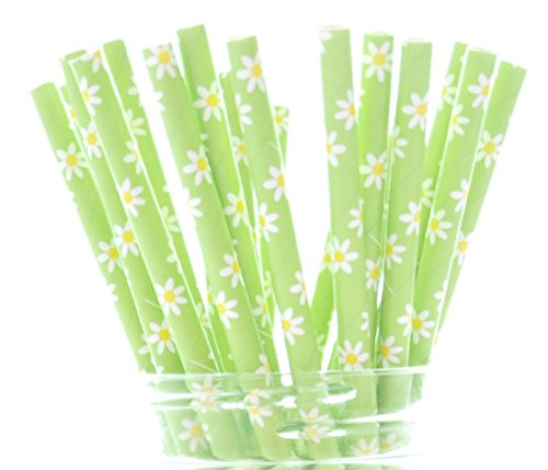 Green Daisy Flowers Straws (25 Pack) - Summer Daisies Flower Party Supplies, Green Floral Wedding Straws, Garden Party Straws