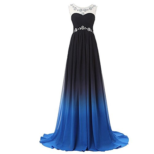 Lemai Bateau Beaded Gradient Chiffon Black Blue Long Formal Prom Evening Dresses US 2