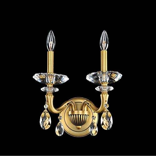 Crystal Wall Bracket - Allegri 021721 Jolivet - Two Light Wall Bracket, Aged Iron Finish with Firenze Clear Crystal