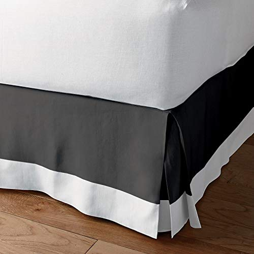Bedding Overseas Classic Box Pleated Bed Skirt Dust Ruffle Tailored Styling (Dark Grey/White,Olympic Queen - 9