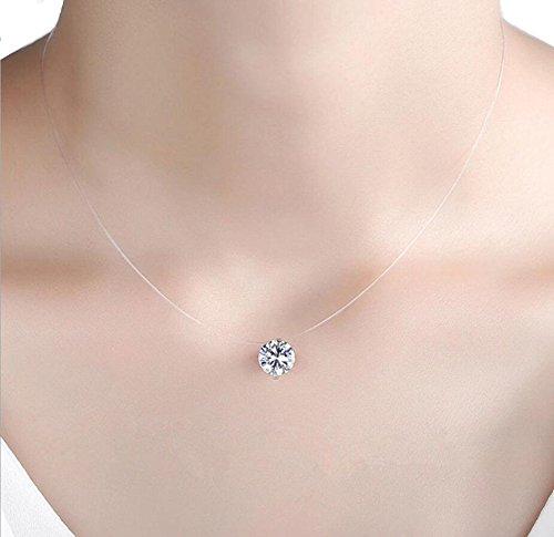 QTMY Transparent Clear Invisible Chain Crystal String Cord Rhinestone Zircon Pendant Necklace (Rhinestone Pendant)