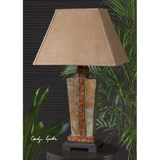 Gorgeous STONE and COPPER Table LAMP Indoor Outdoor Patio by Zinc Decor