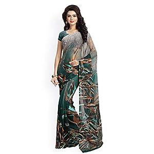 Vaamsi Chiffon Printed Saree (Raga3102_Green_6.3 m length)