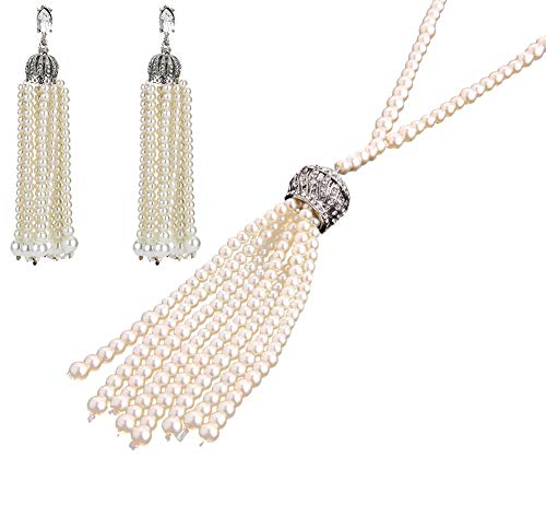 MAKELIFE Great Gatsby Pearl Tassel Necklace 1920s Vintage Flapper Accessories Fringe Imitation Pearl Earrings Jewelry Set (Jewelry Set) -
