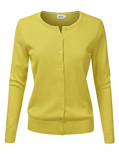 NINEXIS Women's Long Sleeve Button Down Soft Knit Cardigan Sweater Lime XL